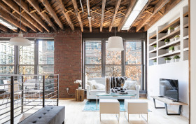 234 north 9th street, williamsburg, sophia lofts, timber beams, condo, living room, duplex