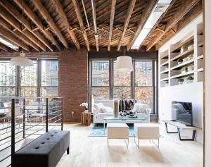 234 north 9th street, williamsburg, sophia lofts, timber beams, condo, living room, duplex