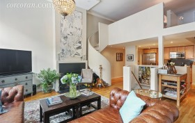 302 5th Avenue, park slope, loft, living room, spiral staircase