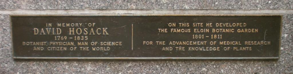 Elgin Botanic Garden, David Hosack, Rockefeller Center plaque