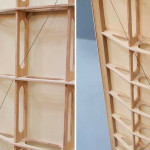 Mieke Meijer, Airplane Wings inspired, Airframe 01, Dutch design, Eindhoven, oak veneer, Baars Bloemhoff, lightweight cupboard, storage cabinet