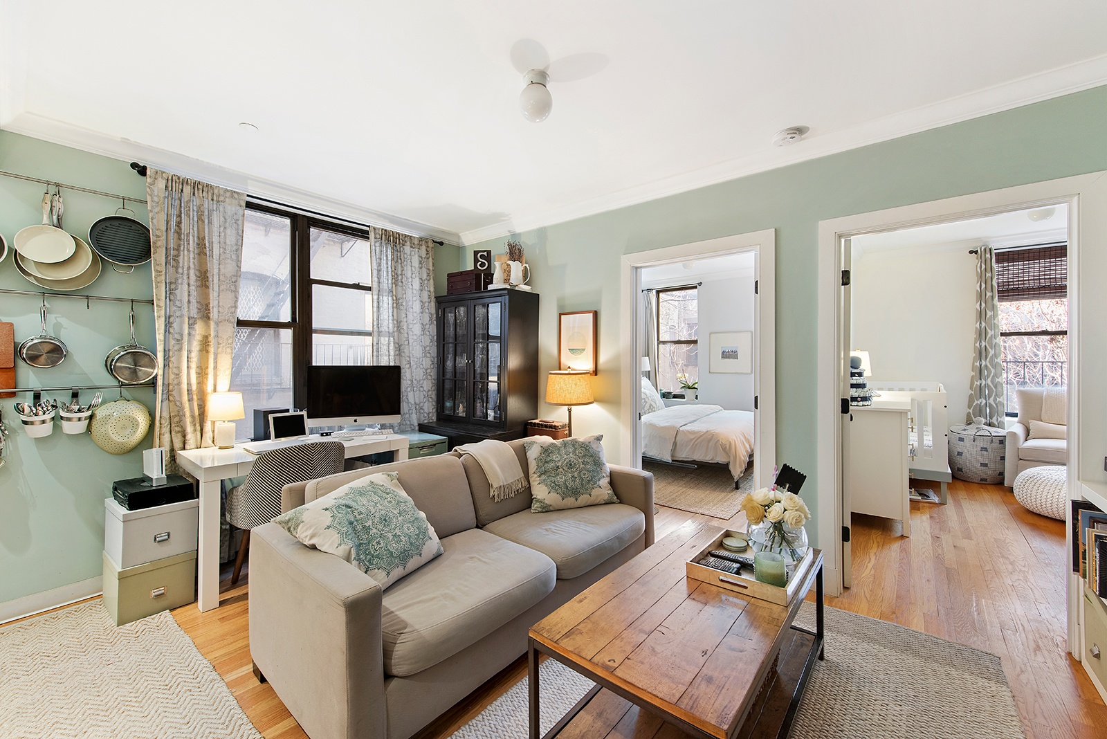 Cute Seafoam Apartment Offers Two Bedrooms In Harlem For