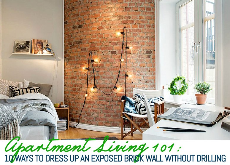 10 ways to decorate an exposed brick wall without drilling - How can i decorate my small living room ...