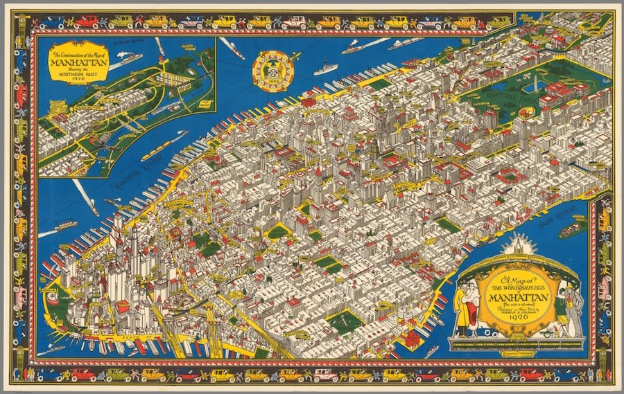 This Illustrated 1926 Map of Manhattan Shows the City as It ... on nassau county map, roosevelt island map, randall's island map, north brother island map, murray hill map, harlem map, ny map, lincoln center map, throgs neck bridge map, new york map, times square map, central park map, brooklyn map, path map, west village map, fire island map, long island map, queens map, jersey city map, madison square garden map,