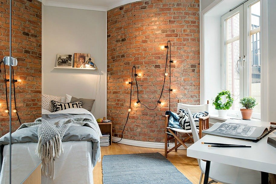 10 Ways to Decorate an Exposed Brick Wall Without Drilling | 6sqft