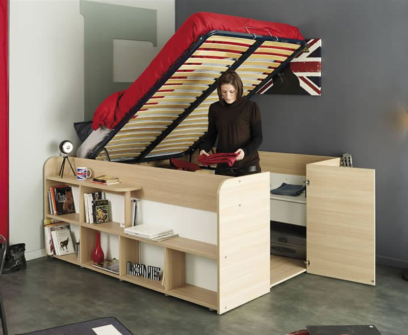 Clever bed closet combo makes room for storage and sleep 6sqft - Small space convertible furniture image ...