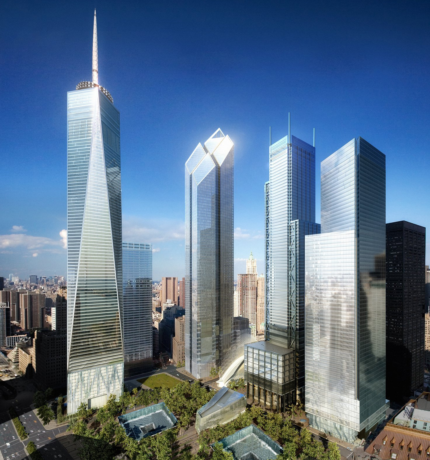 The World Trade Center redevelopment plan, viewed from the southwest, in 2006 with towers by Childs, Foster, Rogers and Maki from left to right