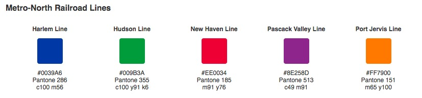 Metro North, pantone colors, train line colors, NYC MTA