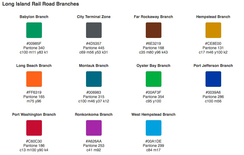 Long Island Rail Road, pantone colors, train line colors, NYC MTA