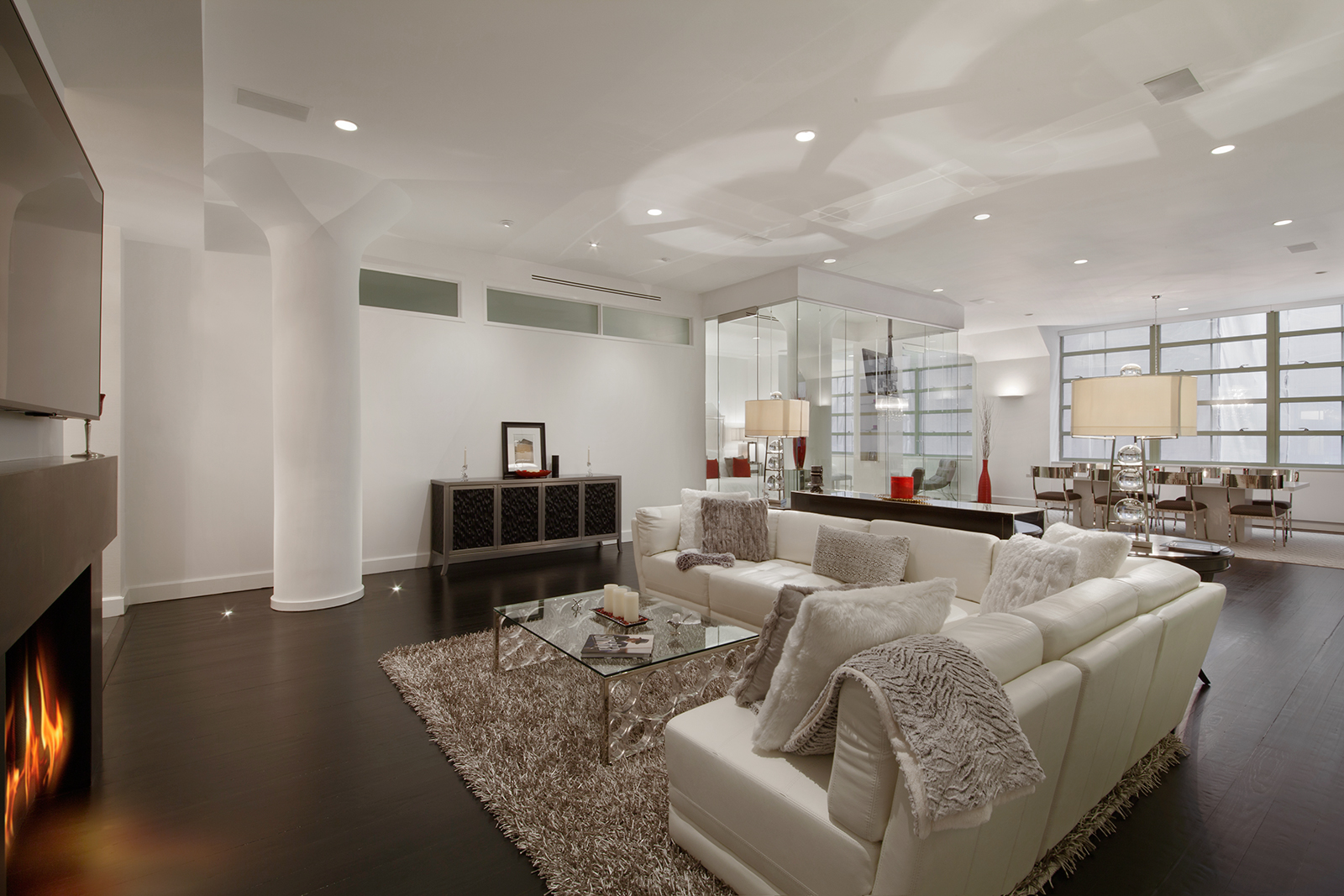 195 Hudson Street, living room, glass, condo, tribeca