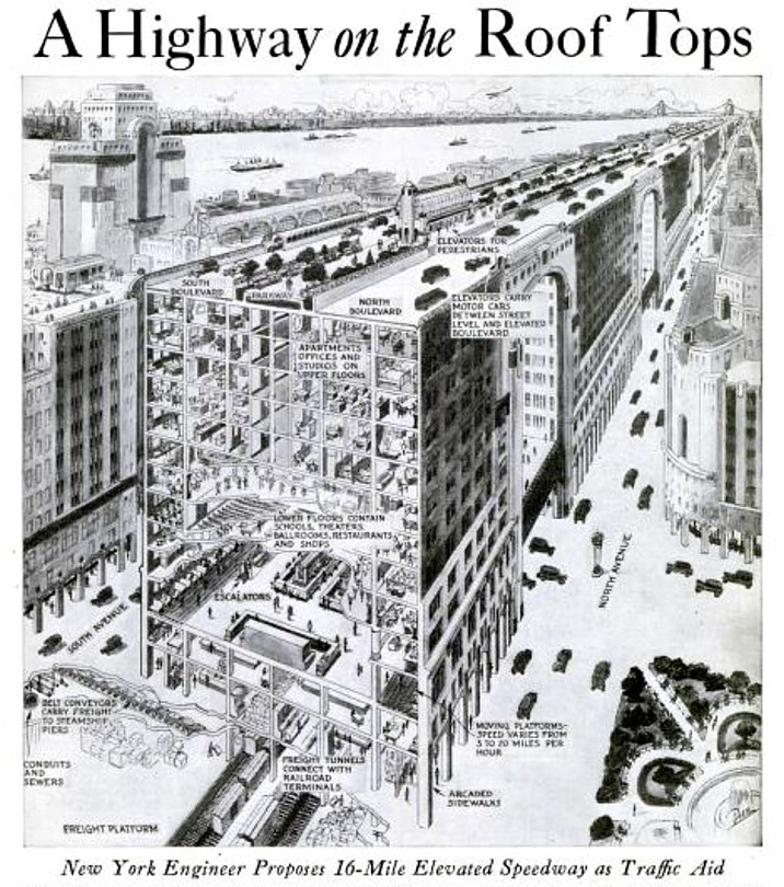 John Hencken, NYC rooftop highway, never-built NYC