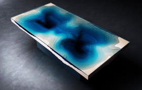 Christopher Duffy, Ocean-inspired table, Abyss Dining Table, Abyss Table, LED lights, Plexiglas, FSC wood
