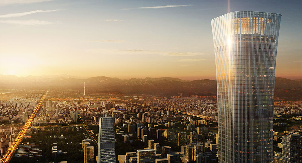 The China Zun Tower by Kohn Pedersen Fox in Beijing