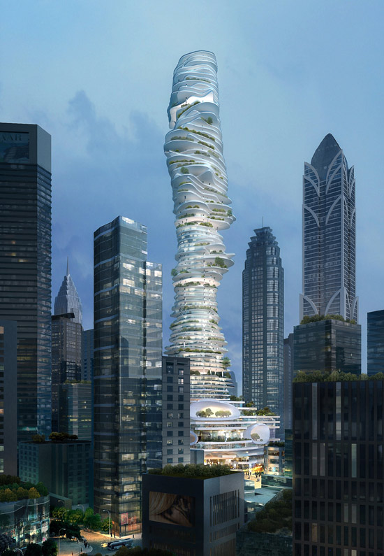 "The ""Urban Forest"" tower by MAD Architects in Chongqing, China"