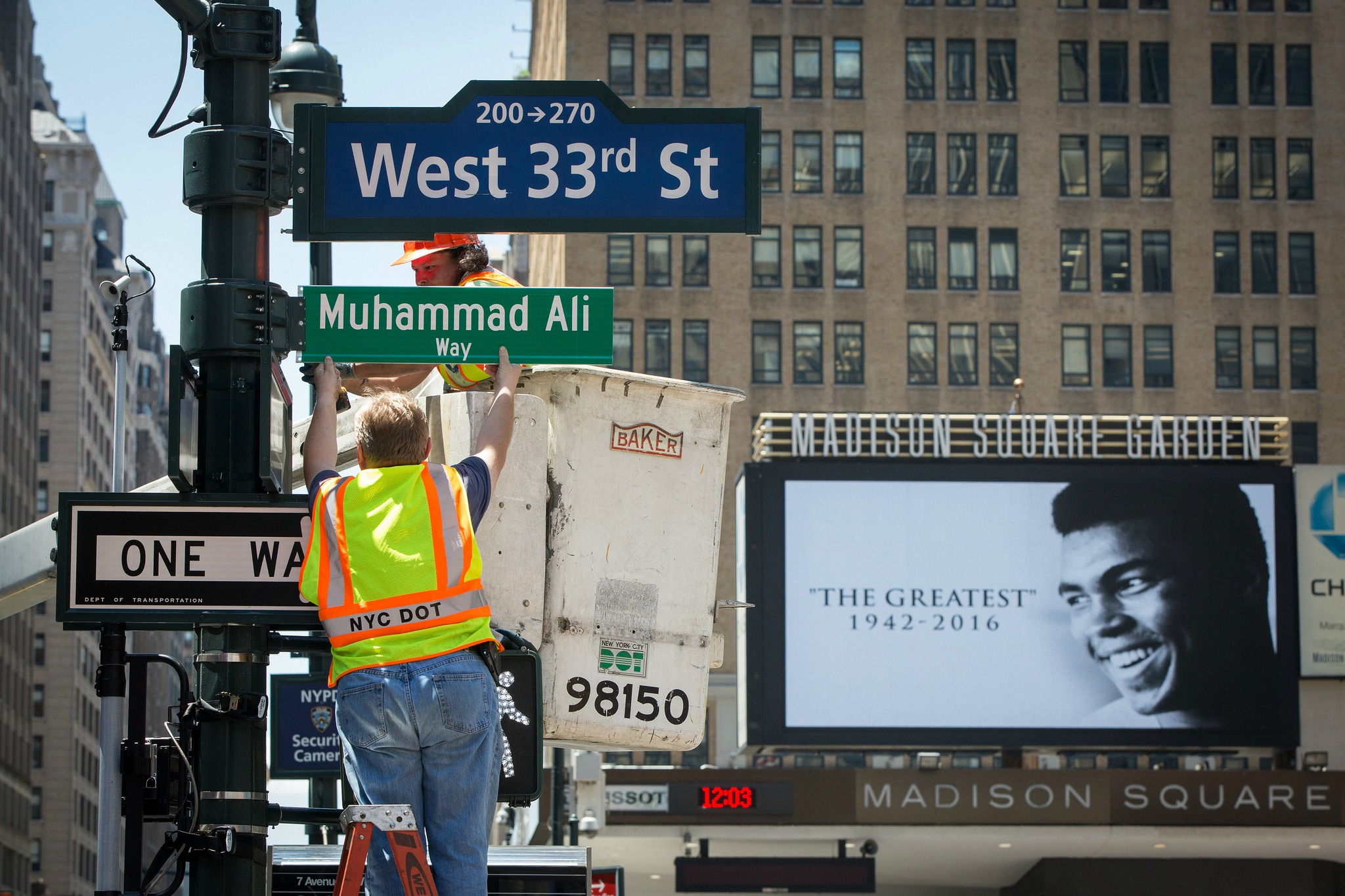 Muhammad Ali Way Street Sign Appears Outside Madison Square