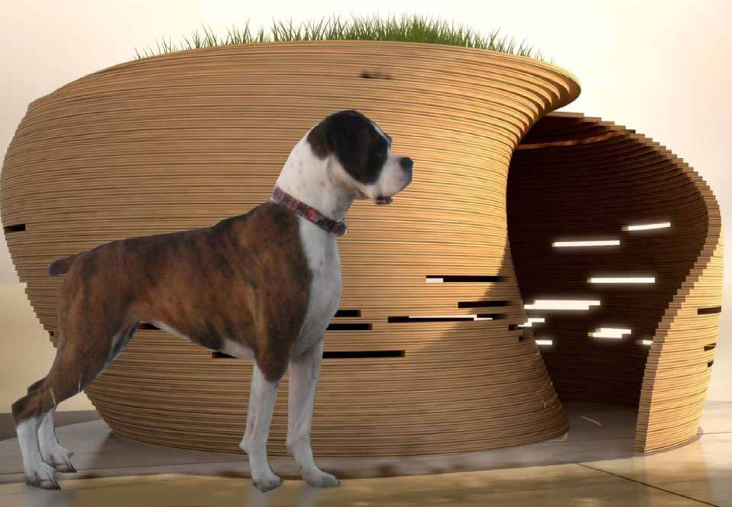 Kpfs william pedersen designs an ultra modern doghouse with green roof