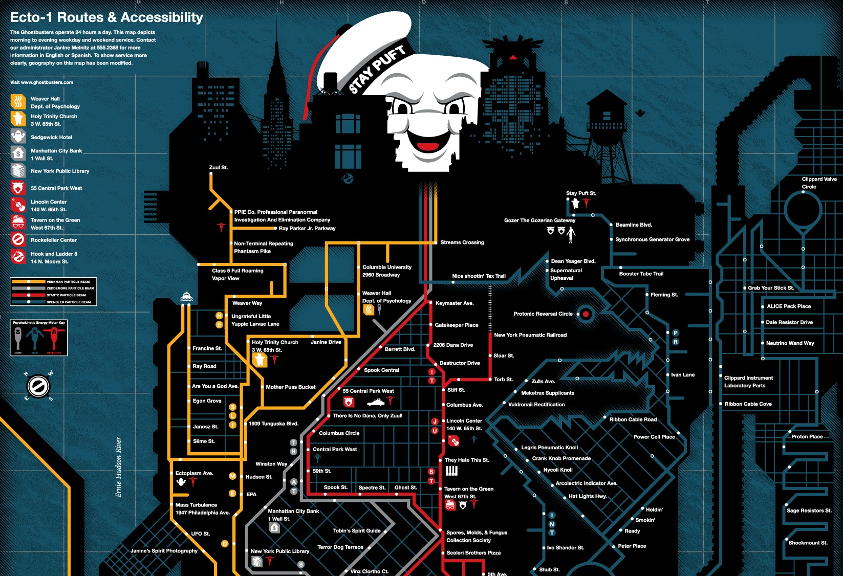 Dana S Apartment Building Ghostbusters the nyc 'ghostbusters' service map transforms the subway system