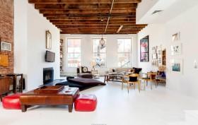 27 Great Jones Street, loft, rental, noho, living room