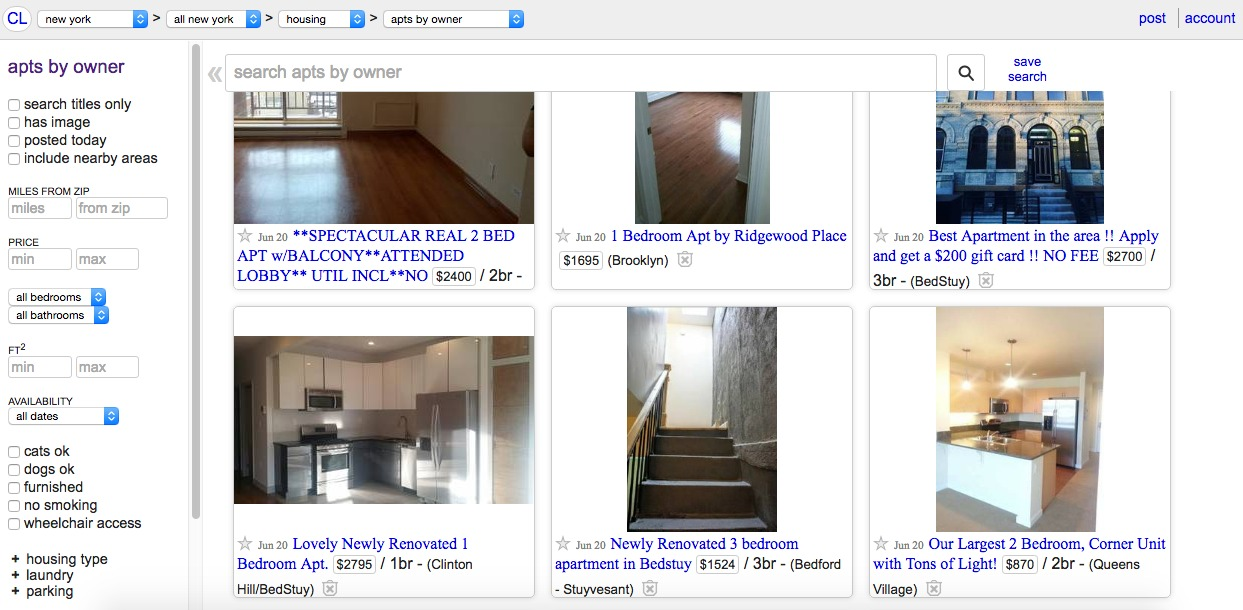 No fee rentals NYC-Craigslist