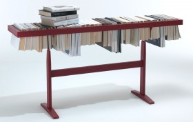 Raw Edges, Booken, book console table, ways to decorate with books, Yael Mer & Shay Alkalay