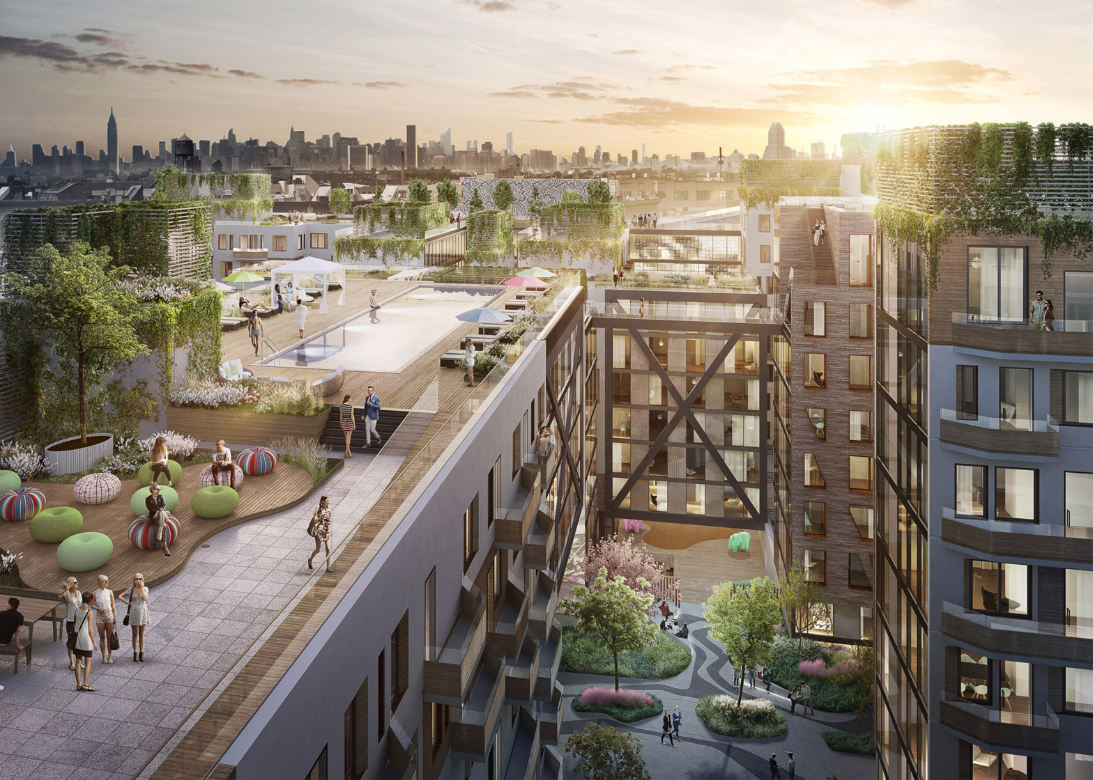 New renderings show rooftop and courtyards at oda 39 s for Top residential architects nyc