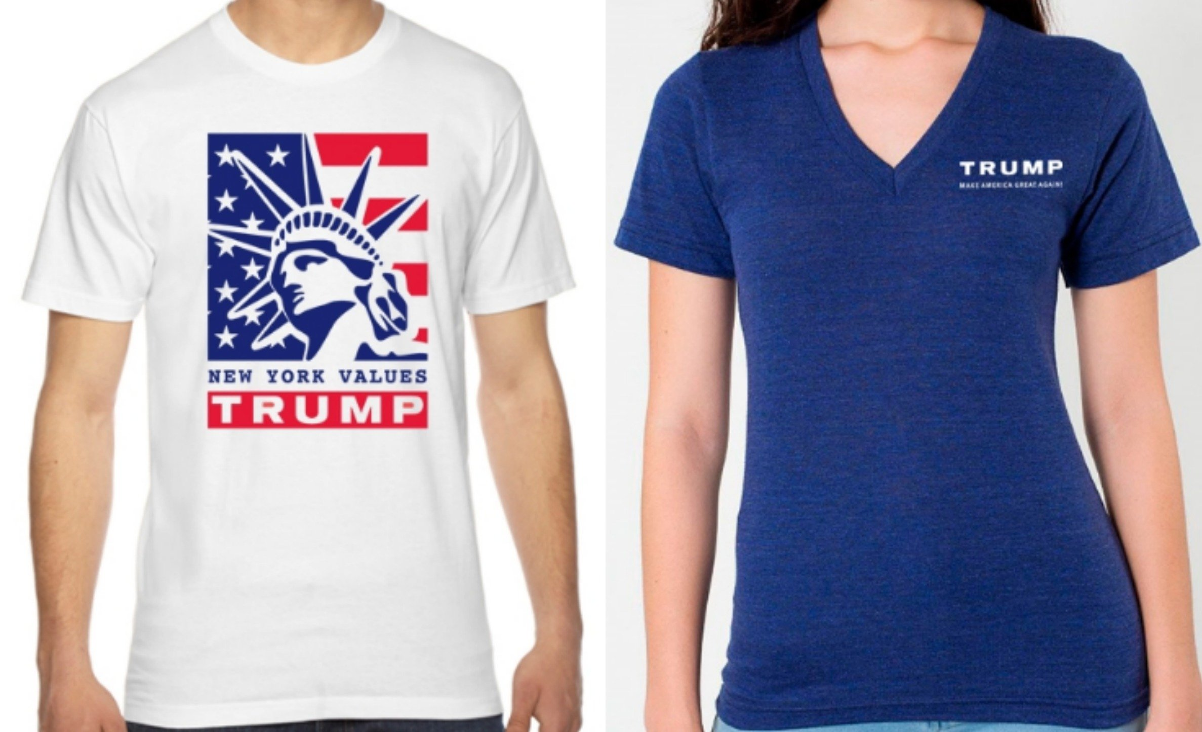 Trumpu2019s tees are pretty standard and all are red, white, and blue ...