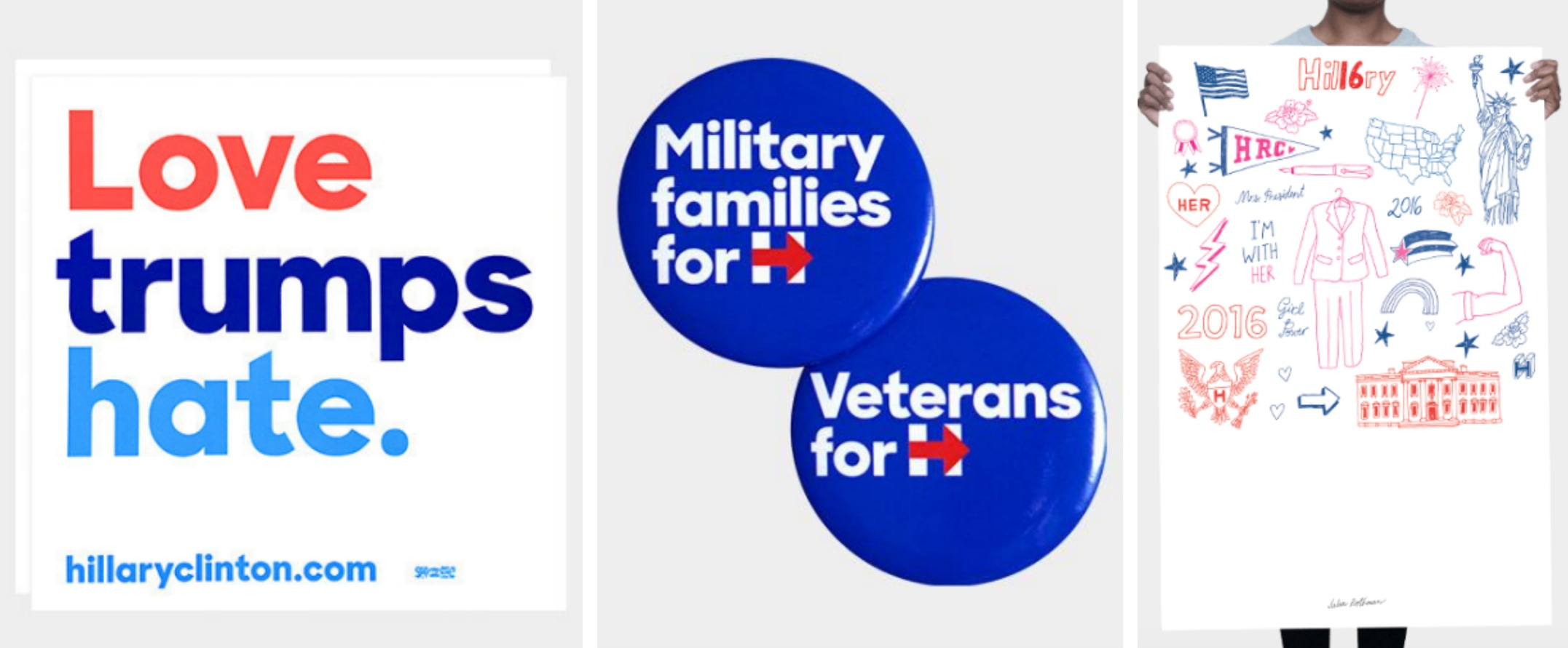Hillary Clinton-merchandise-signs