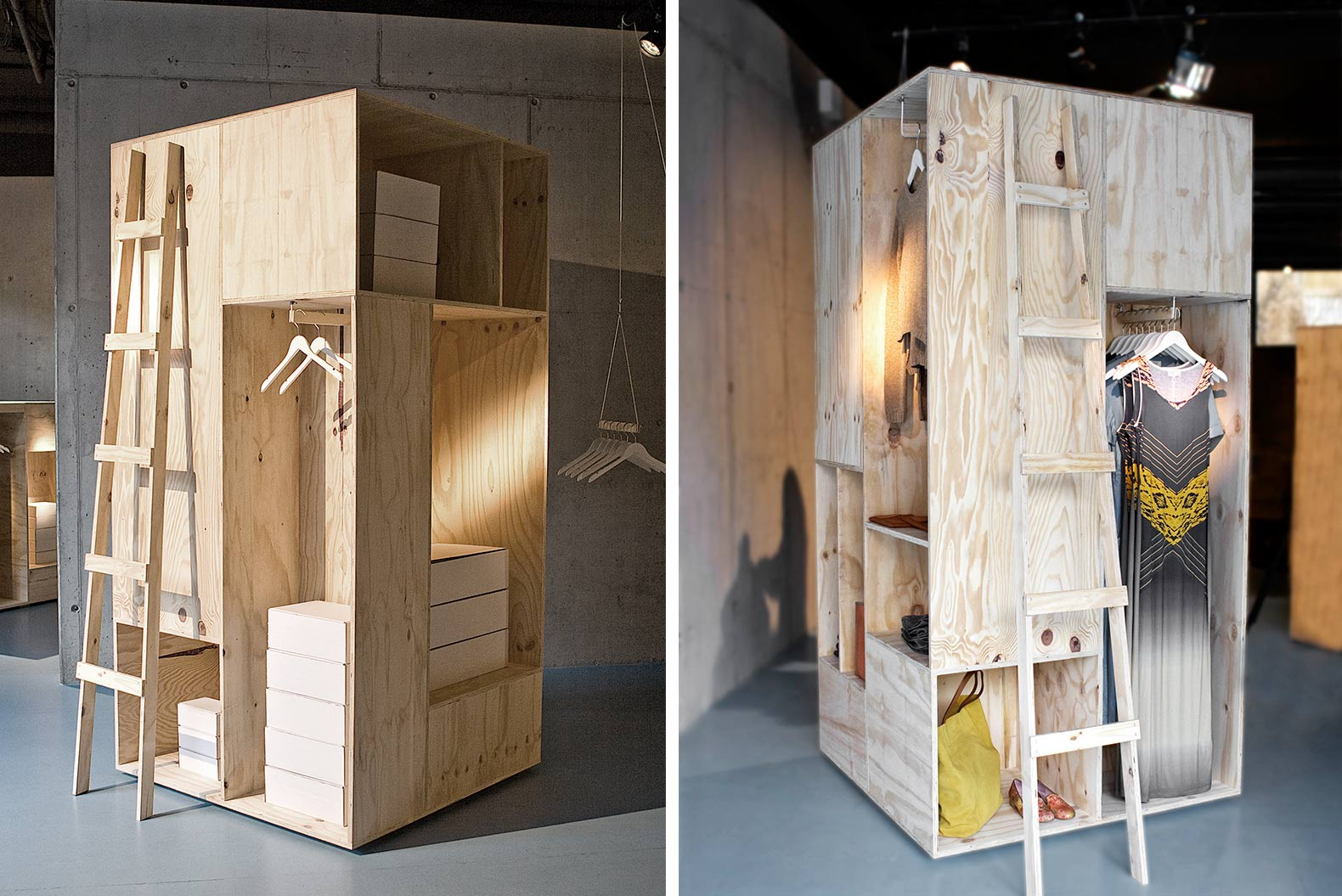 Sigurd Larsen, wooden wardrobes, Berlin, wooden shipping containers, shipping crates,
