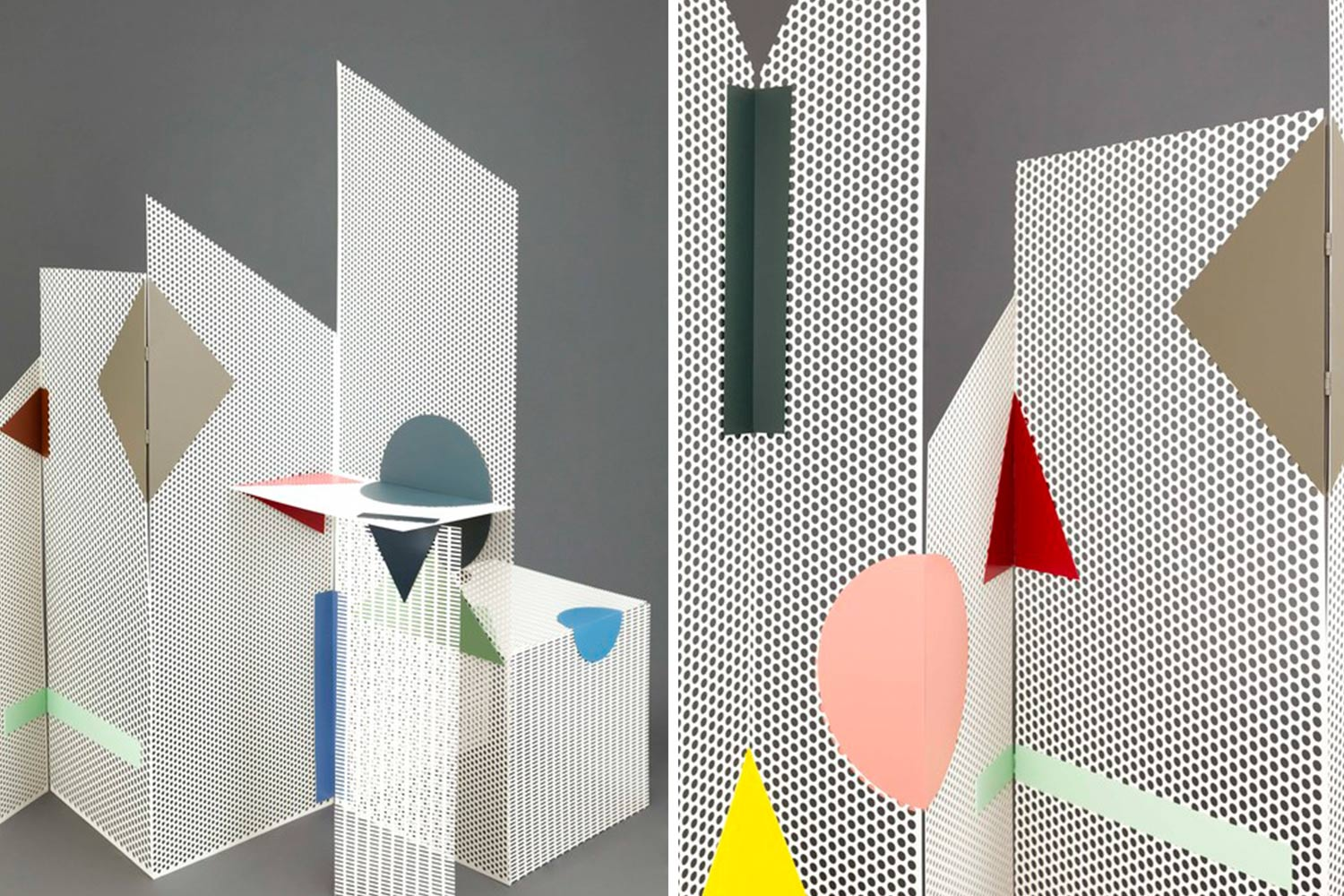 Ana Arana, room divider, Tromploeil, geometric design, playful design, Spanish design, attached with magnets,