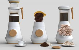 HIFA, Adrián Pérez, Mauricio Carvajal, Yanko Design, Coffee maker, coffeemaker, mushroom growing, coffee grounds, compost, fungiculture, reuse