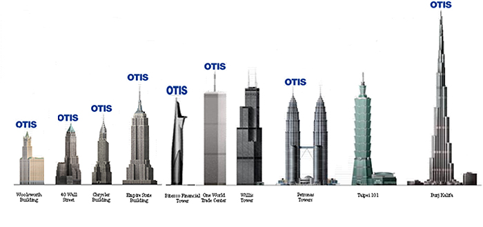modern towers with otis elevators