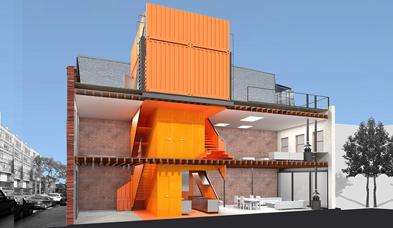 A shipping container tower transformed this brooklyn for Architecture container