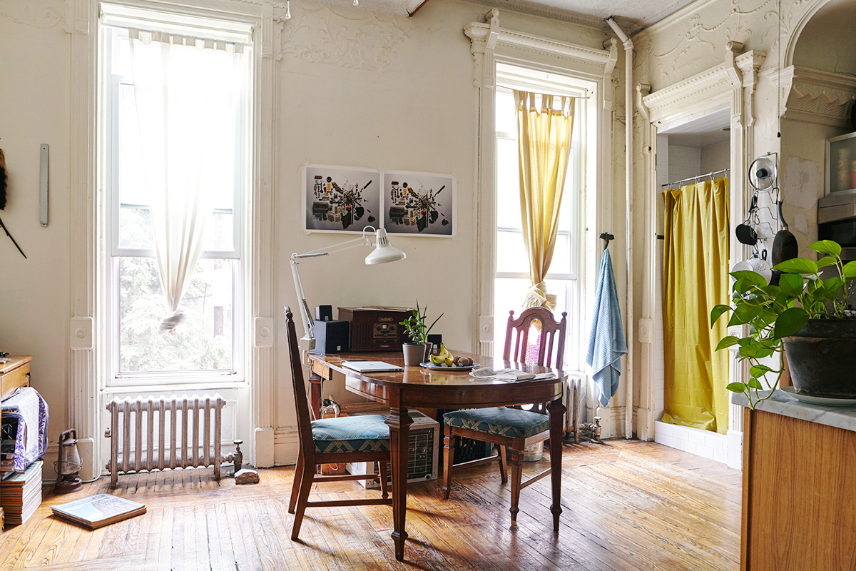 Photographer Michael Depasquale, photographer Martina Maffini, Bed-Stuy brownstone apartment, photographer apartments, historic brooklyn apartments,brooklyn brownstone