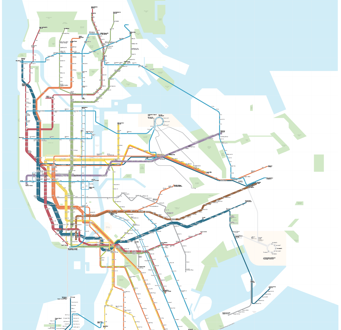 Nyc Simple Subway Map.Mapping Subways Buses And Free Transfers In One Place 6sqft