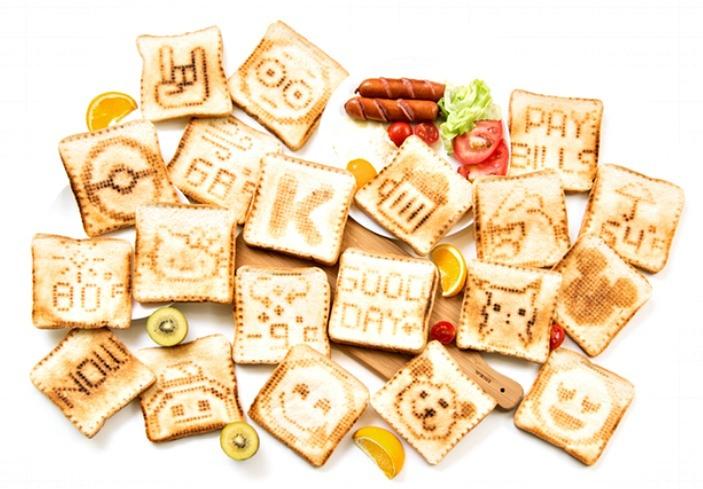 Toasteroid, smart toaster, app-controlled toaster, toast prints