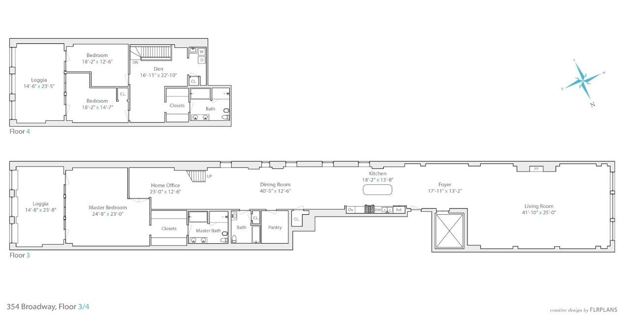 354 broadway, duplex, tribeca, floorplan