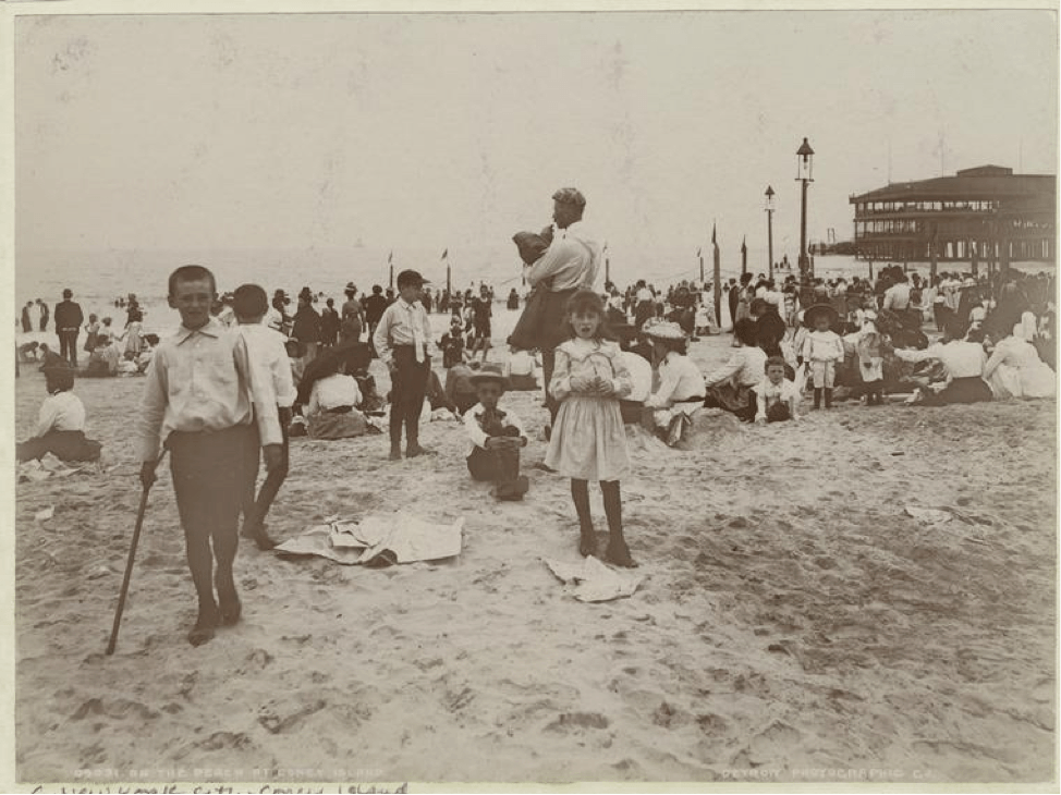 on the beach at coney island 1901