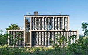 Bates + Masi Architects, canvas facade, Amagansett Dunes, canvas louvers, concrete home, marine breeze as ventilation, passive house,
