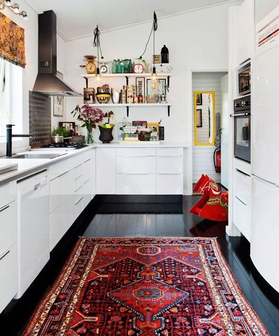 vintage oriental rug in kitchen