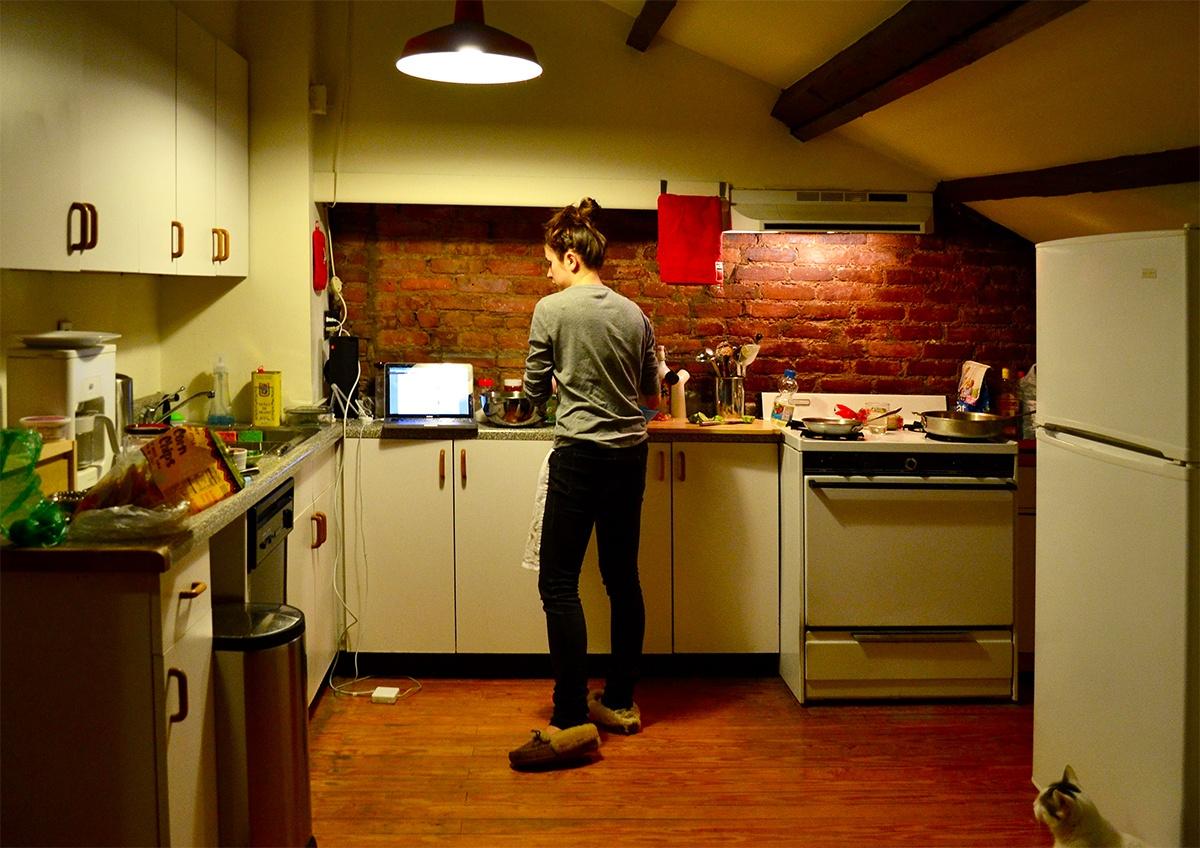 kitchen with soft white light
