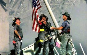 september 11 ground zero flag