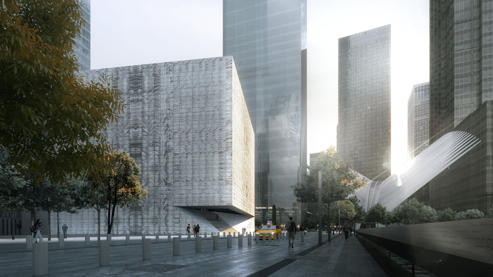 WTC arts center design: Translucent marble and glass cube