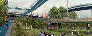 Jersey City, So+So Studio, public infrastructure, elevated park, Green Villain, The Bergen Arches, Erie Cut