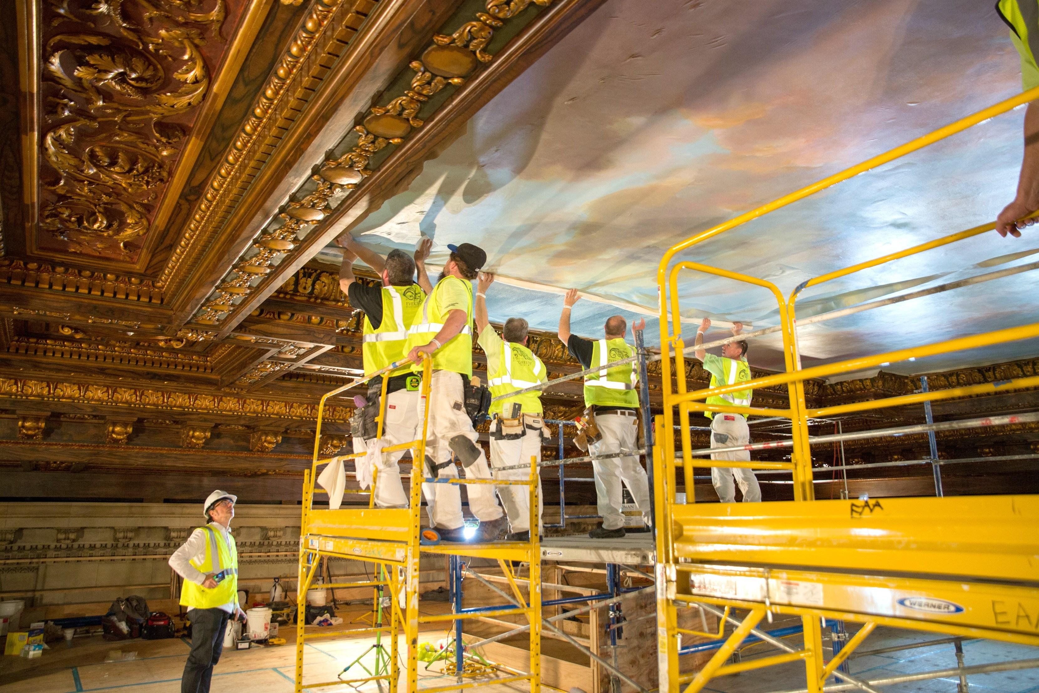 NYPL-Bill Blass mural-installation-2