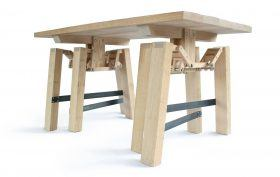 Wouter Scheublin, wooden table, walking table, Nomadic furniture, spider-inspired, dutch design