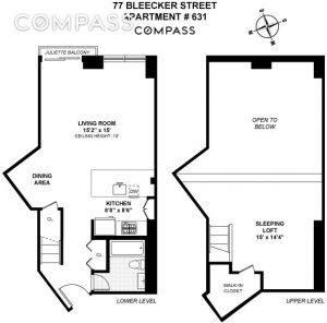 77 bleecker street, loft, greenwich village, floorplan