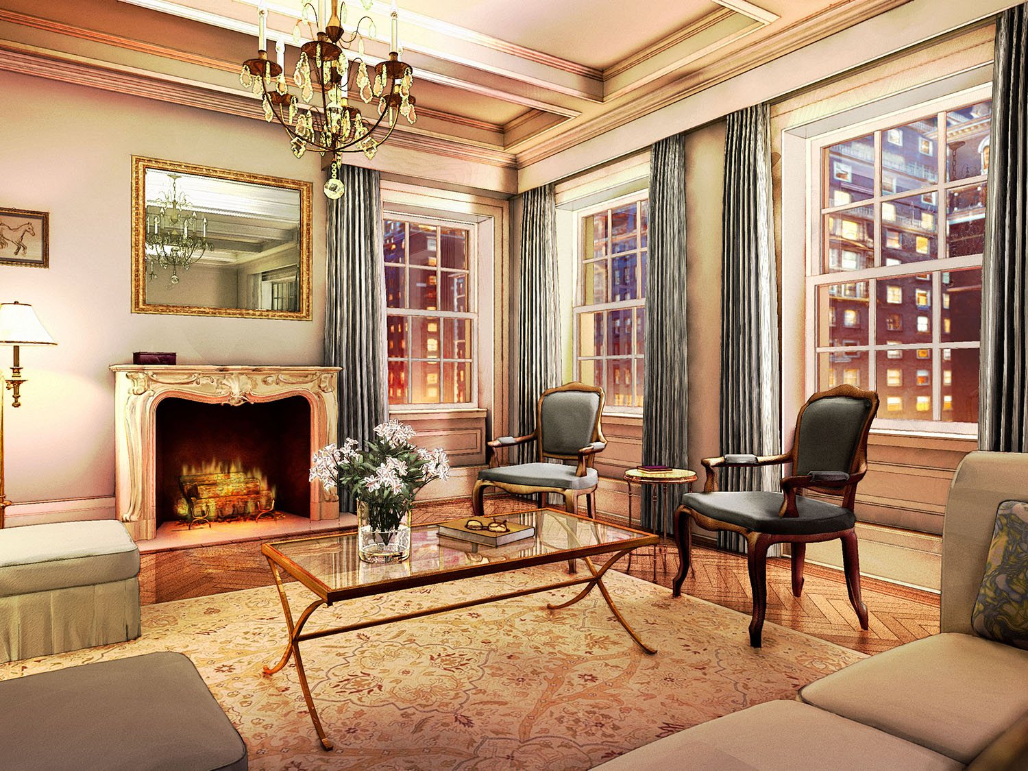 A rendering of a living room for Barry Rice Archictect's 823 Park Avenue