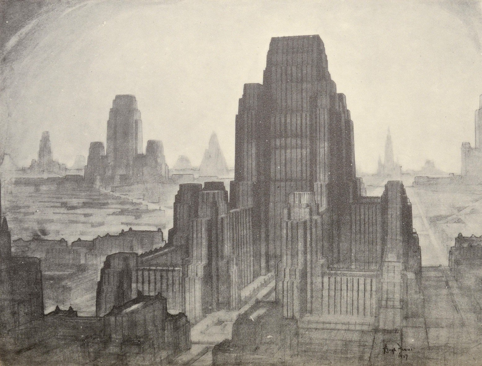 """The Metropolis of Tomorrow"" drawn by Hugh Ferris"