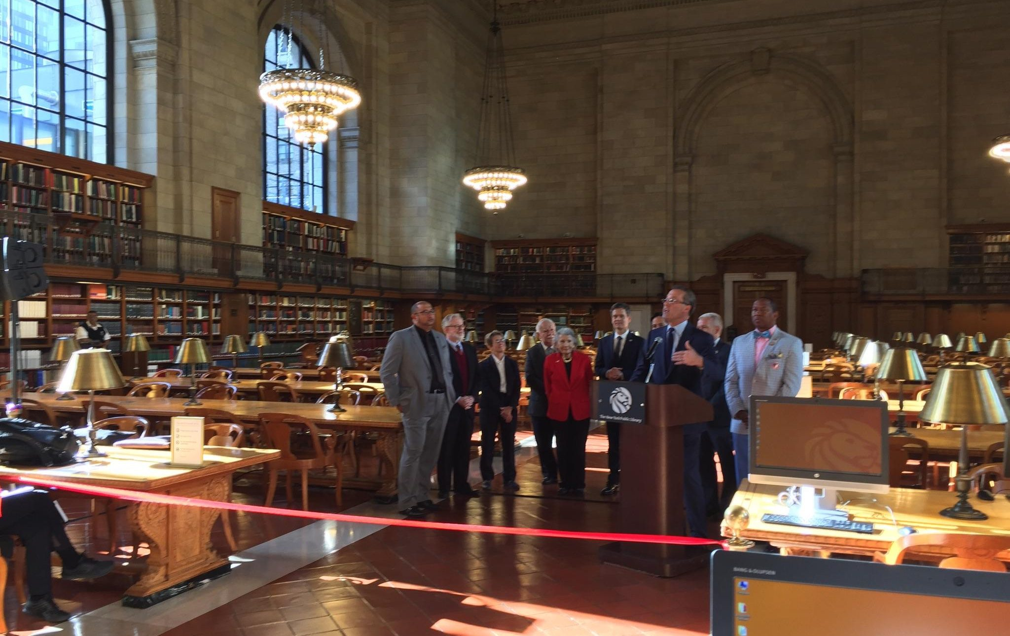 NYPL ribbon cutting, New York Public Library restoration, Rose Main Reading Room