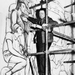Rivera Diego works on panel of mural in Rockefeller Center in 1933
